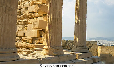 columns of the erechthion in athens, greece