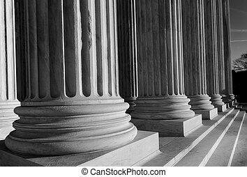 Columns of the Supreme Court in Washington DC Black & White