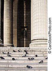 Columns of the temple and pigeons sitting on the steps against the statue