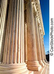 Columns of US Supreme Court in Washington DC daytime