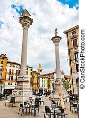 Columns on Piazza dei Signori in Vicenza, Italy