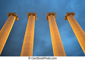 Columns on Square of Spain in Barcelona.