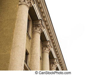 columns on the facade of an old restored building