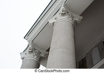 columns on the facade of the building