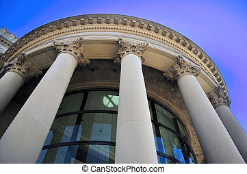 Columns - Wide angle view of an old building with columns