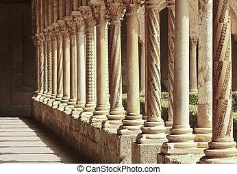 columns rythm in famous Monreale cloister, near Palermo, Sicily