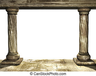 Columns - Frame with two medieval columns. Isolated over...