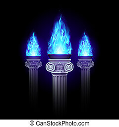 Columns with blue fire - Three ancient column with blue fire...