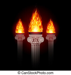 Columns with fire - Three ancient columns with fire blazing ...
