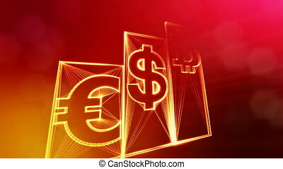Columns with signs of bitcoin dollar and euro. Financial background made of glow particles as vitrtual hologram. Shiny 3D loop animation with depth of field, bokeh and copy space.. Red background v1