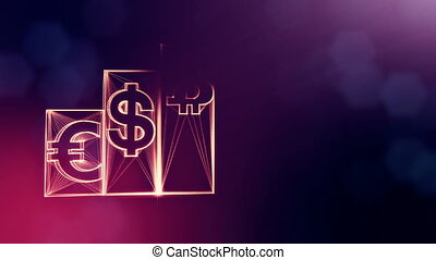 Columns with signs of bitcoin dollar and euro. Financial background made of glow particles as vitrtual hologram. Shiny 3D loop animation with depth of field, bokeh and copy space. Violet background 1