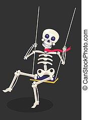 columpio, sentado, escalofriante, balanceo, soga, esqueleto