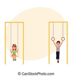 columpios, gimnástico, niños, rings., balanceo, ahorcadura, patio de recreo
