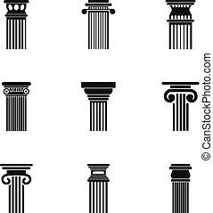coluna, ícones, jogo, simples, estilo