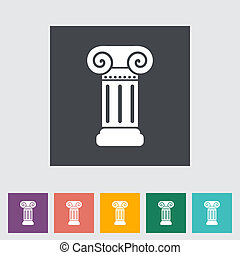 coluna, apartamento, único, ícone