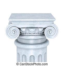 coluna, branca, isolado, fundo, mármore