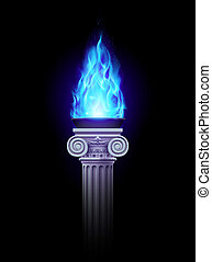 coluna, com, azul, fogo