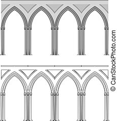 coluna, gótico, arco
