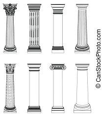 coluna, grego, único, branca, isolado
