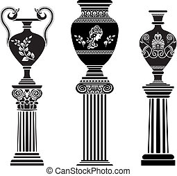 coluna, grego, antiga, vaso