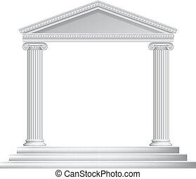 coluna, grego, templo