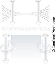 coluna ionic, com, grego, tecla, padrão