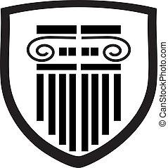 coluna, logotipo, escudo