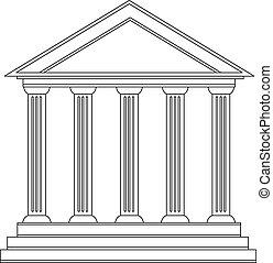 colunas, antiga, grego, edifício histórico