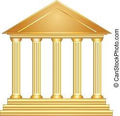 colunas, antiga, grego, edifício histórico, ouro