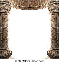 colunas, arco pedra