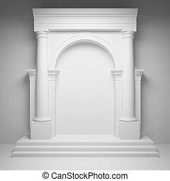 colunas, com, arco