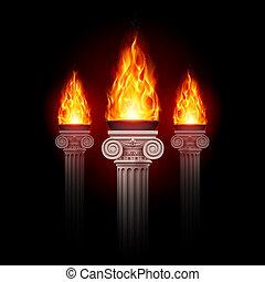 colunas, com, fogo