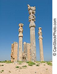 colunas, de, antiga, cidade, de, persepolis