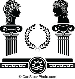 colunas gregas, e, human, cabeças