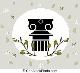 colunas gregas ionic, ordem, vindima, desenho, com, azeitona, folhas, ramo, vetorial, ilustração