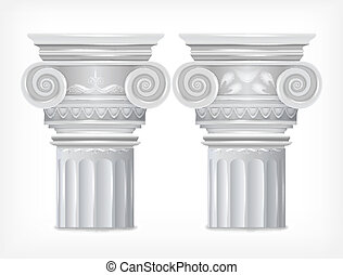 colunas gregas, isolado, branco, experiência., vetorial