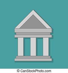 colunas, predios, isolado, ícone