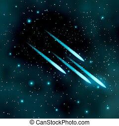 comète, ciel, étoilé