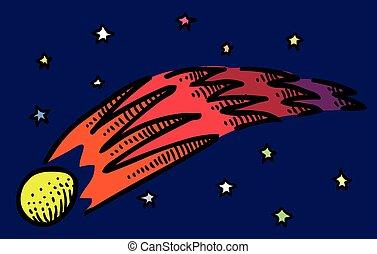 comète, image, dessin animé