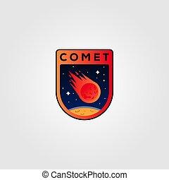 comète, météore, vecteur, icône, illustration, conception, logo