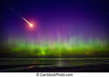 comète, tomber, aurore boréale