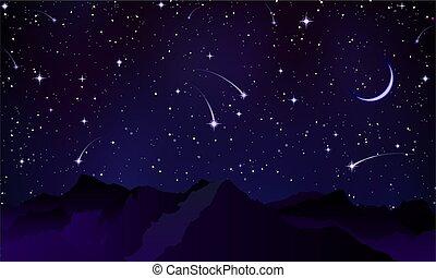 comètes, sur, crêtes, montagne