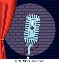 comédie, exposition, brique, microphone, haut, lumière, mur, stand
