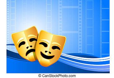 comédie, théâtre, fond, masques, tragédie
