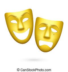 comédie tragédie, masques théâtraux