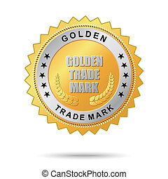 comércio, dourado, etiqueta, marca