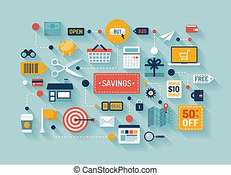 comércio, e, poupança, apartamento, ilustração