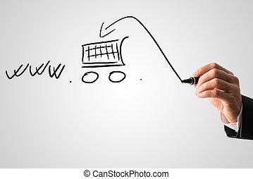 comércio eletrônico, conceito, fazendo compras online