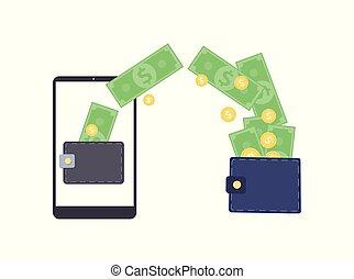 comércio eletrônico, digital, conceito, isolado, apartamento, carteira, vetorial, ilustração, white.