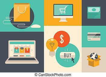 comércio eletrônico, internet fazendo compras, ícones